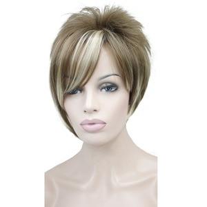 Image 2 - StrongBeauty damskie peruki asymetryczna pochylona grzywka krótka prosta Bob naturalna syntetyczna pełna peruka 4 kolory