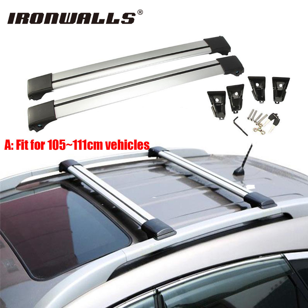 Ironwalls 2x car roof rack cross bar 105 111cm top luggage cargo carrier w