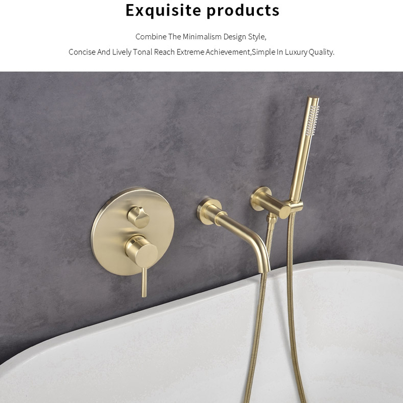 quyanre brushed gold bathtub shower faucet single handle mixer tap with brass handshower wall mount bath shower faucet kit shower faucet1