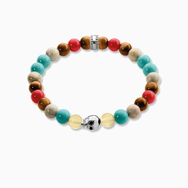 Natural Stone Tiger Eye Red Coral Turquoise Beads 925 Sterling Silver Skull TS Elastic Bracelets, Thomas Style Jewelry For Women