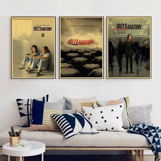 Grays Anatomia TV Show Maravilhoso retro vintage Poster Quarto Decoração da parede do decalque
