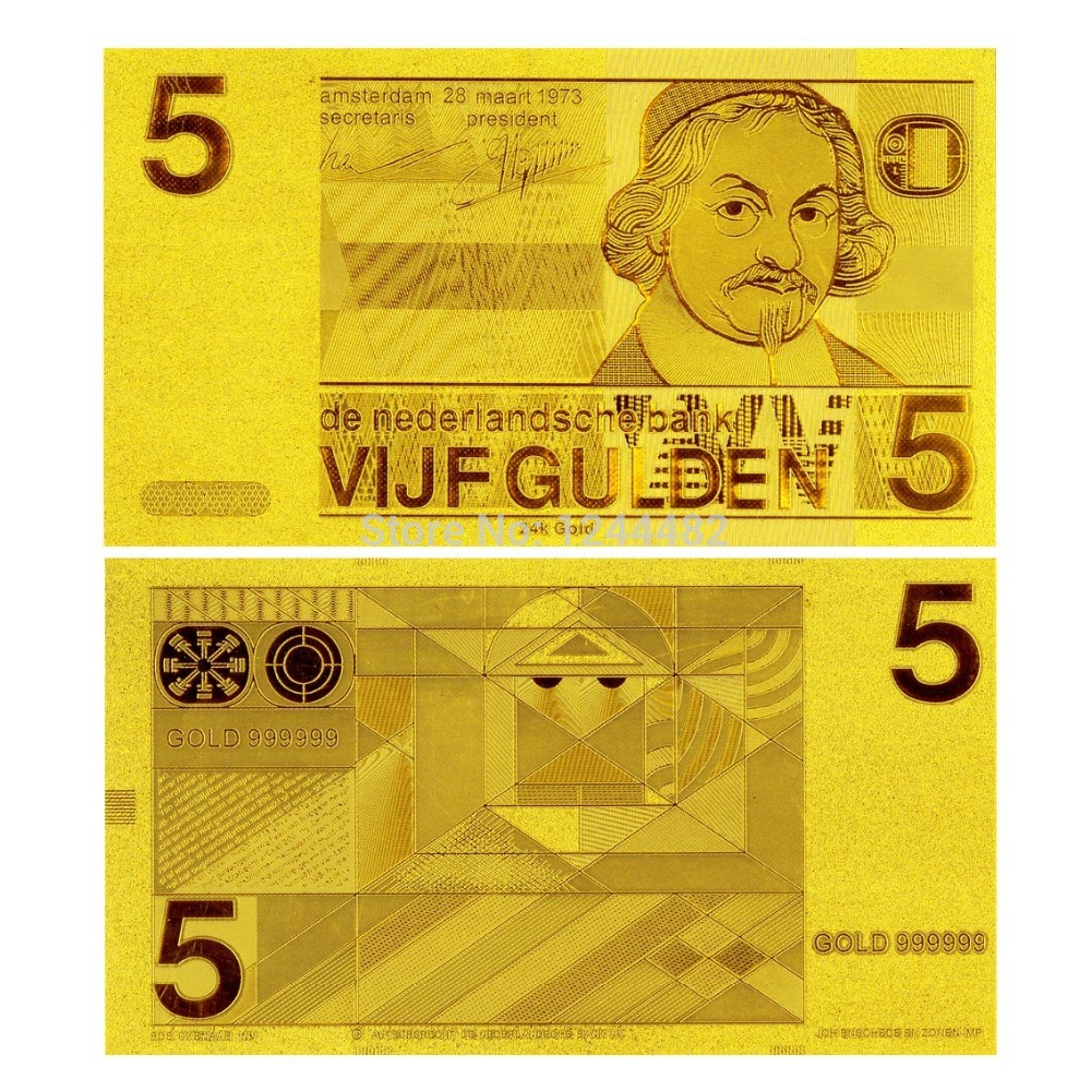 Aliexpress Buy Netherland Currency Gold Foil Banknote 25
