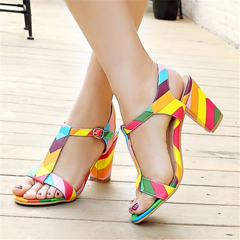Plus Size 34-44 Summer Patent Leather Women Sandals Fashion Square High Heels Ladies Pumps Sexy Party Dress Shoes Woman Sandals plus size 34 43 new 2017 summer women sandals fashion thick high heels party shoes t strap rome style ladies beach shoes