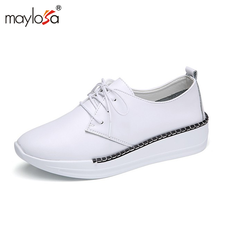 MAYLOSA Autumn Women Flats Shoes Genuine Leather Lace up Platform Height Increase Ladies Oxfords Shoes for Womens shoes cosidram pointed toe women oxfords spring autumn fashion women flats pu leather lace up women shoes ladies 2017 bsn 023