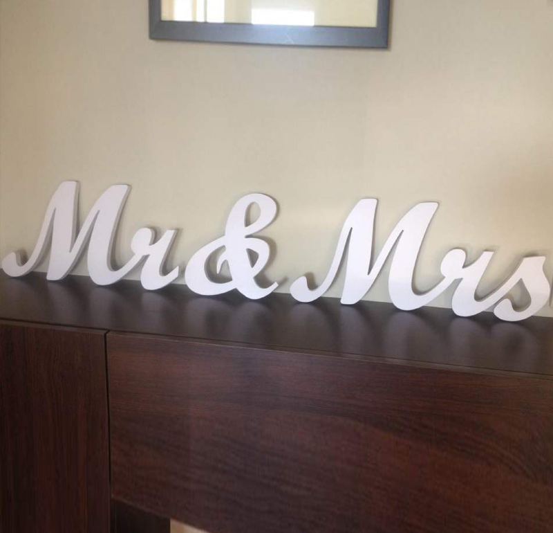 5 6 7 8 Pure white Mr & Mrs elegant script letters for wedding table decor.Wedding top table Decor. Rustic Wedding Signage