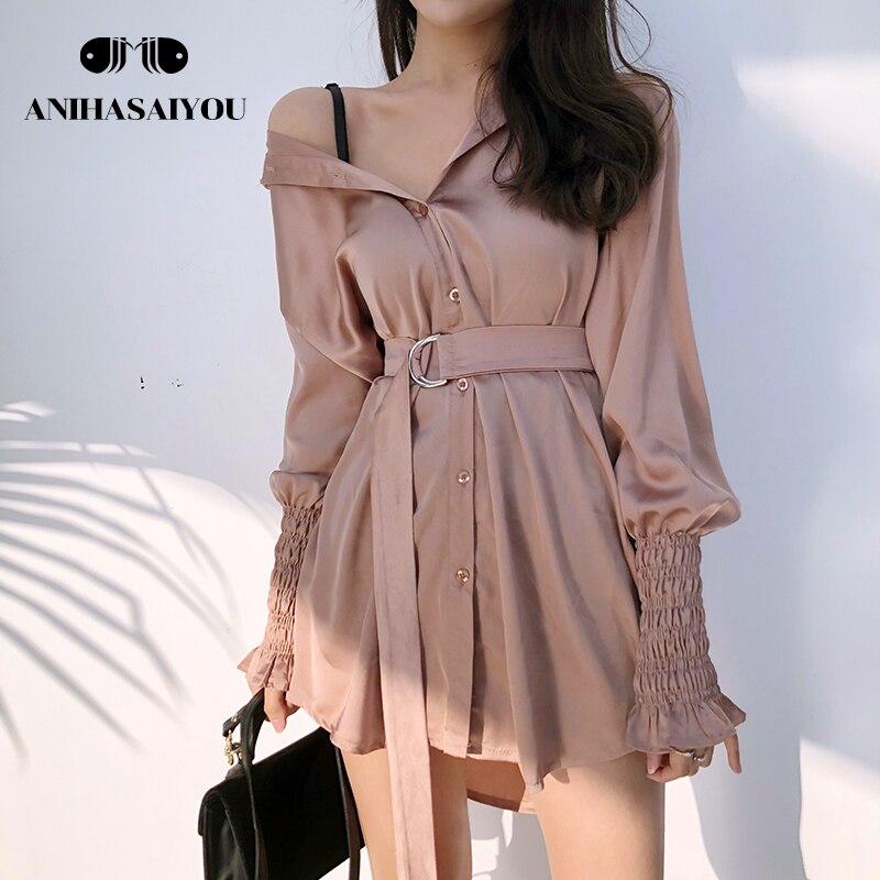 2018 Summer korean loose blouse retro off shoulder top Lantern sleeve waistband long waist elegant temperament blouse women