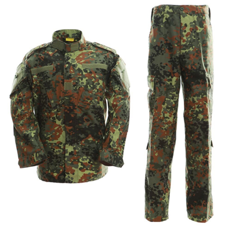 New German Flecktarn Military Uniform Camouflage Suit Paintball Army Fatigues Clothing Combat Pants + Tactical Shirt