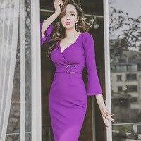 2017 Summer Brand Quality Women Vintage Dress Sexy Elastic Purple V Neck Knee Length Dress 50s