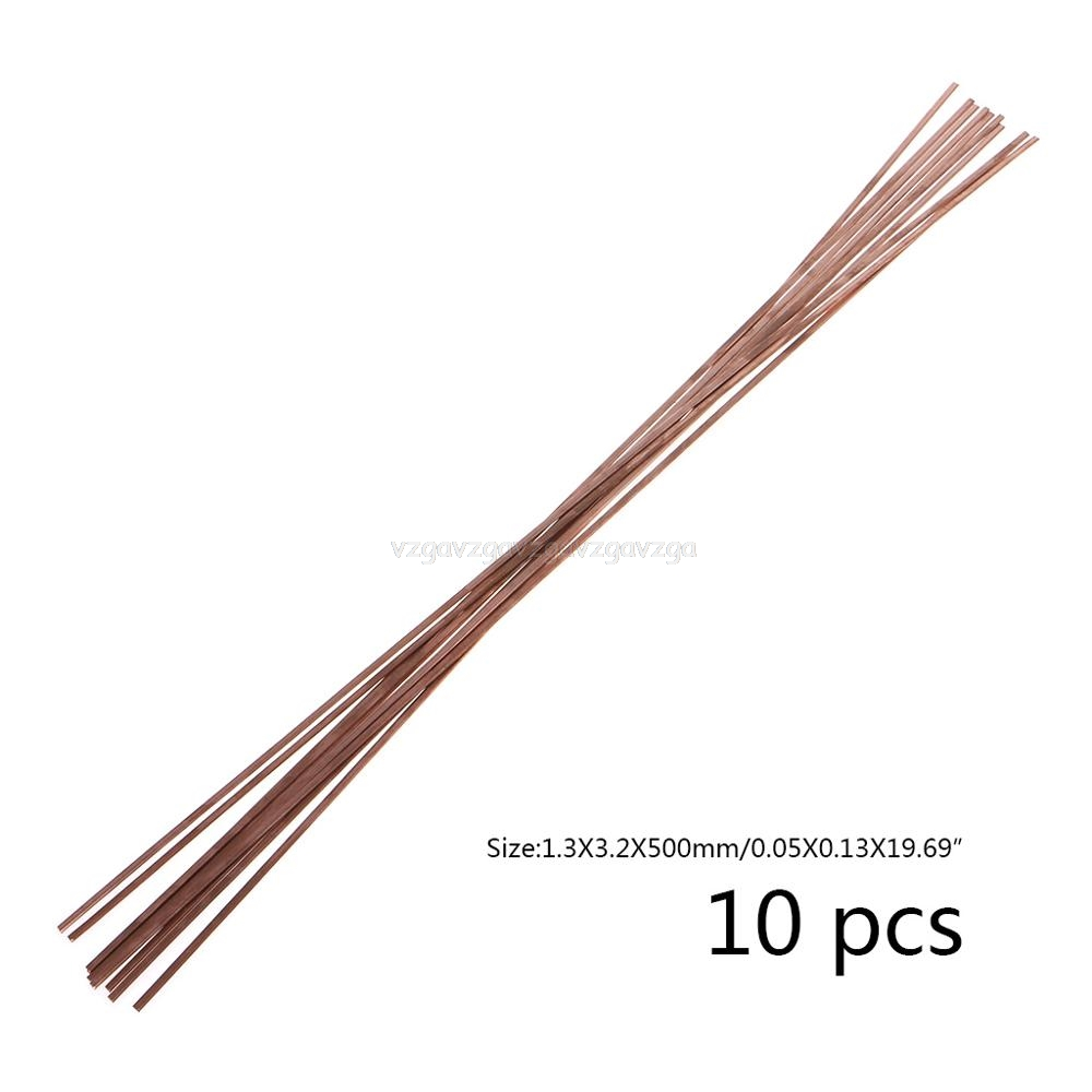 10pcs Flat Silver Electrode Low Temperature Phosphor Copper Welding Rods HL201 Selffluxing Brazing Alloy Soldering 1.2X3.2X500mm