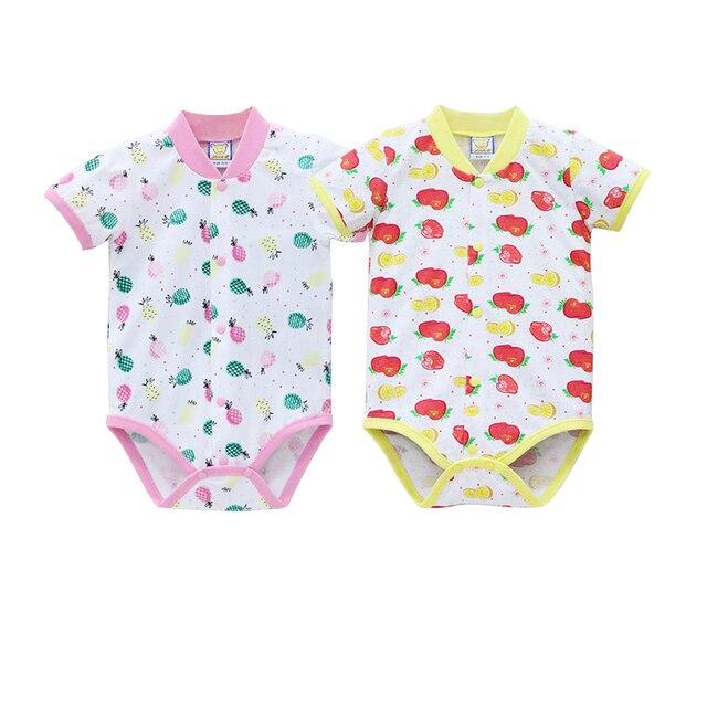 2019 Pouco Q Recém-nascidos Bodysuits Verão Bebê Manga Curta O Pescoço Roupas 2 pçs/lote Botão Ternos Roupas de Algodão Puro
