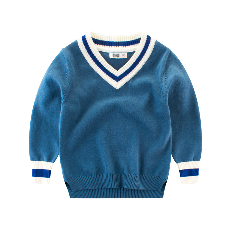 Autumn Boys Sweater Solid Color Children's Casual Sweater Baby Girl Winter Bottoming Shirt V-neck Pullover 2-10 Years Kids wear inc new navy blue solid women s size pp petite ribbed v neck sweater $49 080