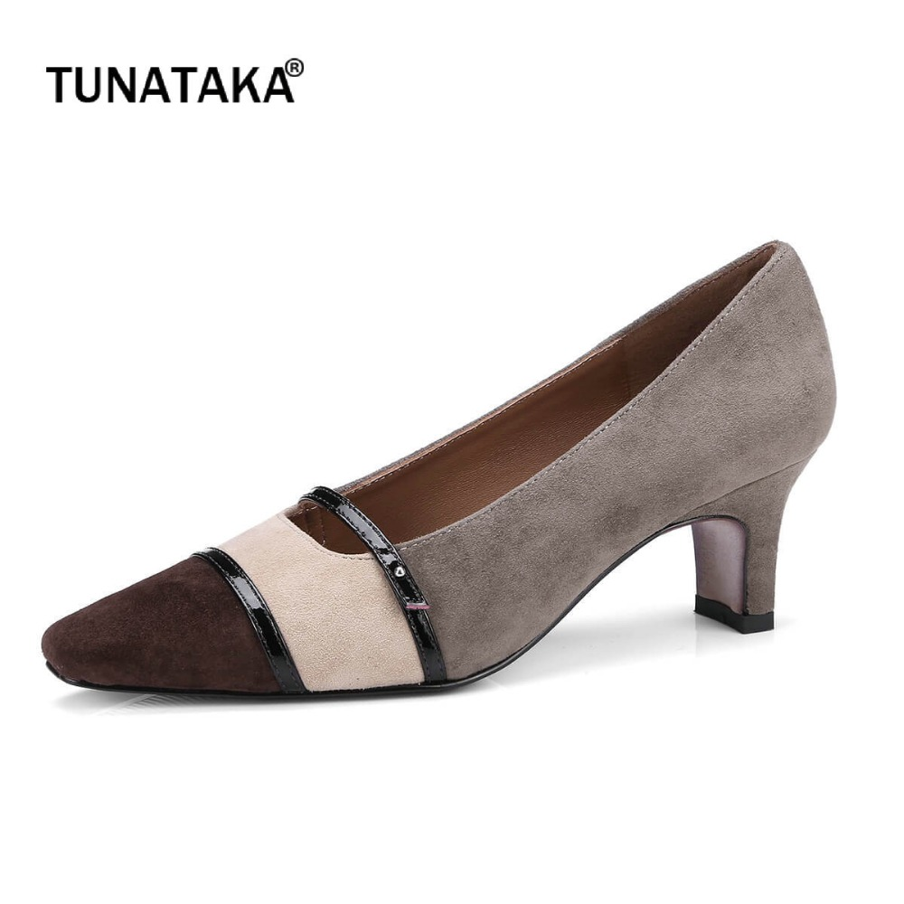 Suede Comfort Square Heel Mixed Color Woman Lazy Pumps Fashion Square Toe Dress High Heel Shoes Woman Gray mixed print square coaster