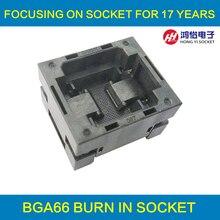 BGA66 OPEN TOP Burn in socket pitch 1.0mm IC size BGA66(7.47*11.02)-1.0-TP01/50 BGA64 VFBGA64 burn in programmer socket fast shipping original xeltek superpro 610p with 13pcs adapters universal ic chip programmer 13pcs burn block ic socket adapter