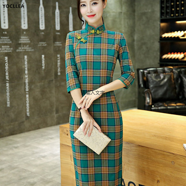 Cotton Long Qipao Autumn Dress Women Traditional Chinese Clothing vintage Fashion Sweet Girl Plaid Cheongsams Dresses Vestidos