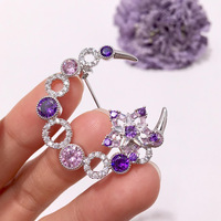 Purple and Pink Austria Crystal Brooches for Women Luxury Elegance Star Brooch Women for Dress coat Accessories Party Brooch