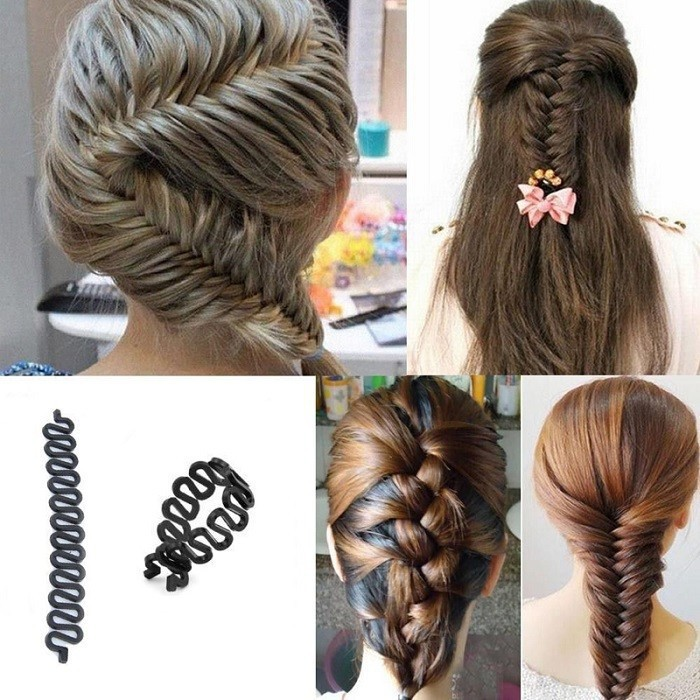 1 X Women Lady French Hair Braiding Tool Braider Roller Hook With Magic Hair Twist Styling Bun Maker Hair Band Accessories  ral swatch