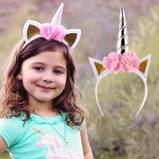 Newborn Kawaii Baby Unicorn Headband Birthday Lace Flower Crown Tiara Hair  Bands Headwear Glittery Lovely Kids Hair Accessories f83311e0624