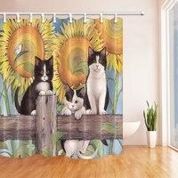 かわいい猫木製でひまわりポリエステル生地のシャワーカーテンセット、ファンタスティック装飾バスカーテン