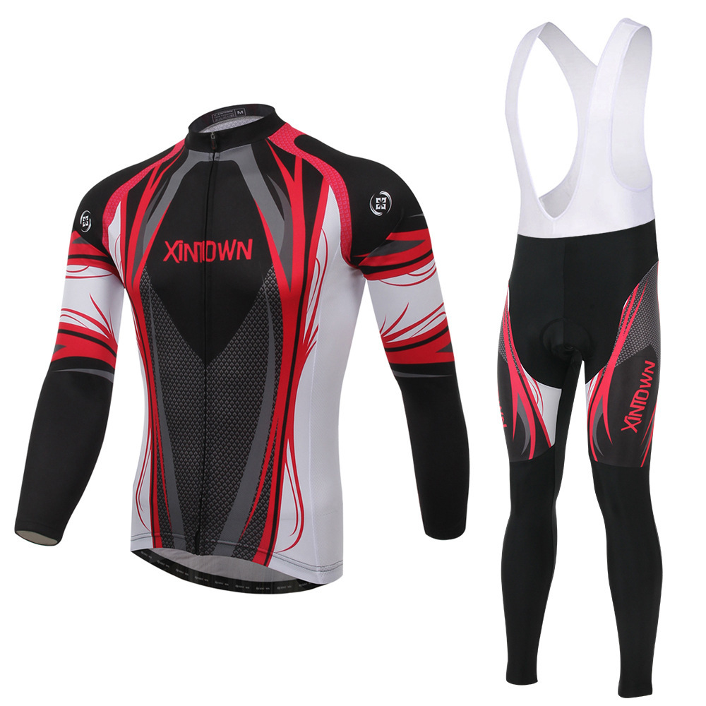XINTOWN Chong Shen red bike riding jersey strap long-sleeved suit wear bicycle suits fleece wind warm functional underwear