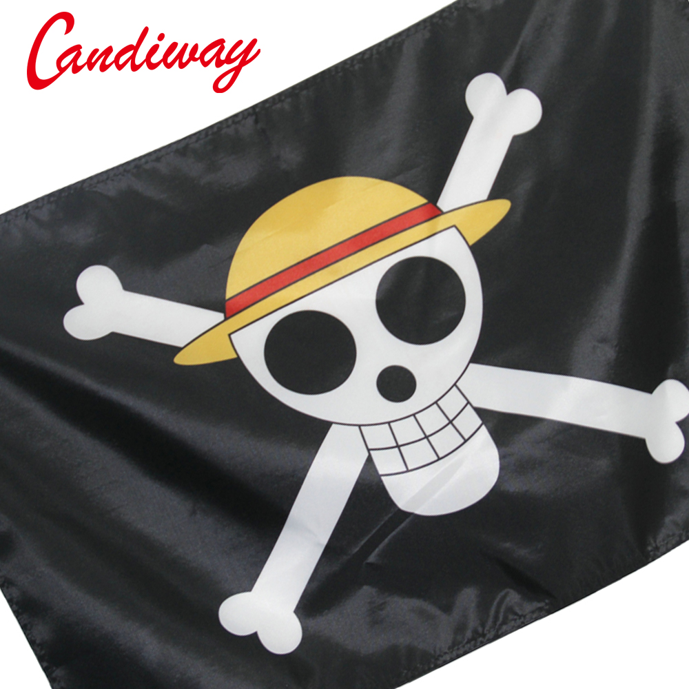 One Piece straw hat pirates trumpet banner of custom props COSPLAY animation around wholesale pirates flag 3 X 2 feet NN127