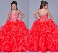 Glitter Crystal Beaded Halter Lovely Girls Pageant Dresses 2019 Organza Layered Ruffles Ball Gowns Girls Birthday Party Gowns
