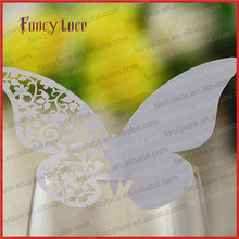 50pcs Hot Sale Laser cut Butterfly Table Mark Wine Glass Cards/Name Place Cards Customized/Wedding Favor/Party Decoration