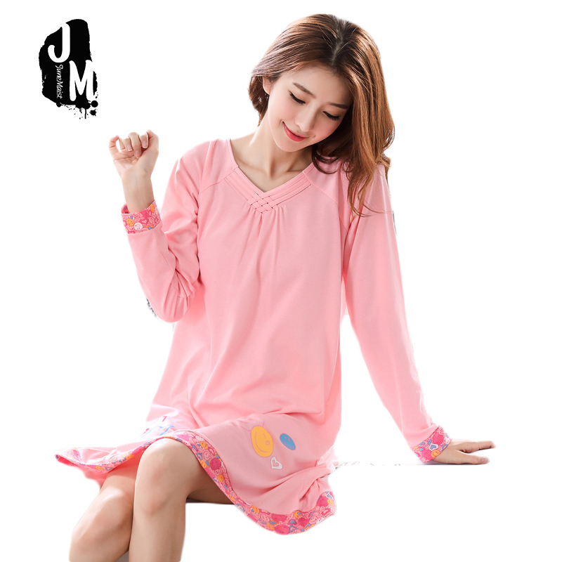 New arrival 100% Cotton Women   Nightgowns     Sleepshirts   2019 Long Sleeve Spring Autumn Nightdress Pijama Casual Home Clothes 3XL