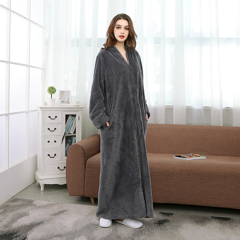 Towelling Bath Robe Ladies Cozy Zip Up Long Dressing Gown Bath Robe