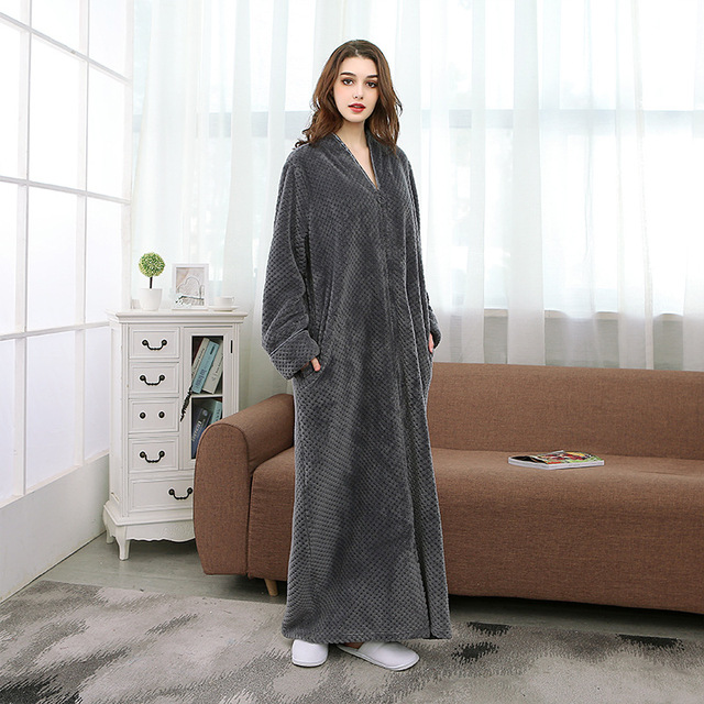 Hot Grey Ladies Cozy zip up Long dressing gown Bath robe housecoat Fleece Dressing Gown Robe for women TOWELLING BATH ROBE