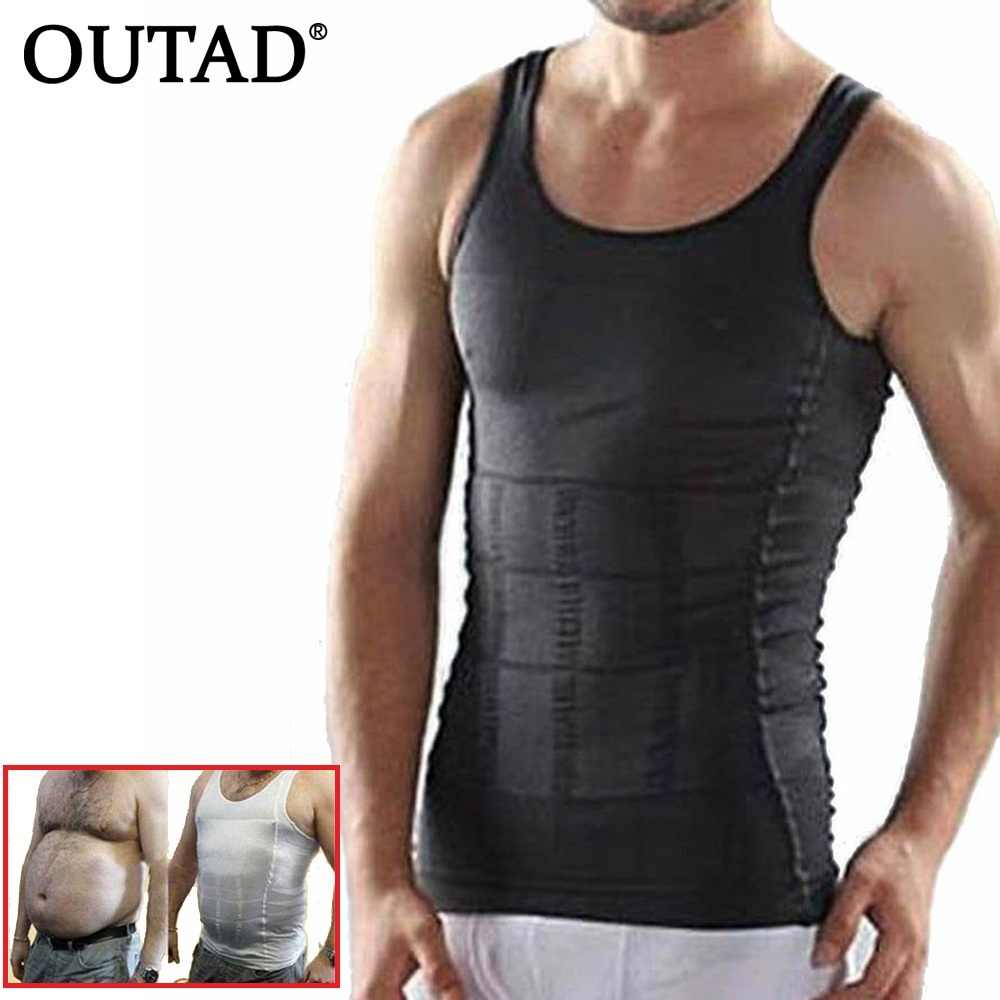 OUTAD Men Corset Body Slimming Tummy Shaper Running Vest Belly Waist Girdle Shirt Black Shapewear Underwear Waist Girdle Shirts