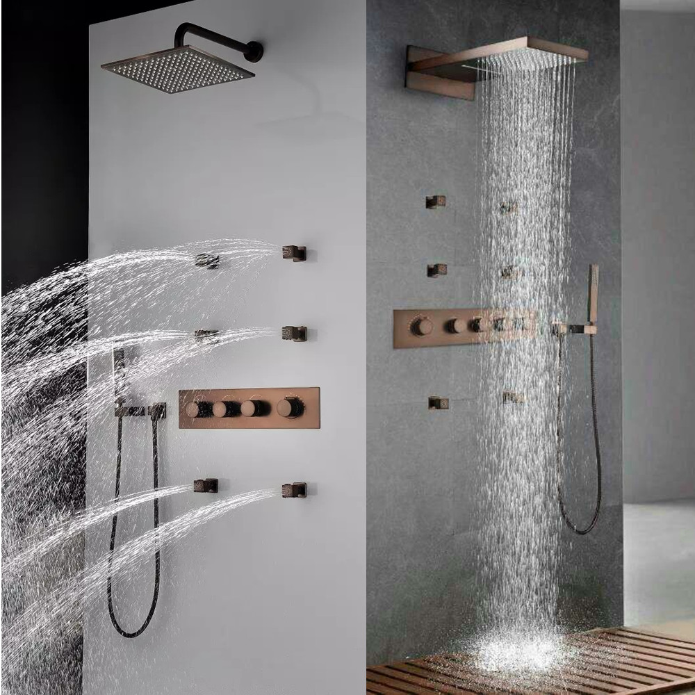 цена Luxurious European Style Rainfall In-Wall Antique Brown Thermostatic Bathroom shower Set ORB mixer faucet Tap