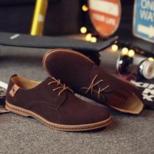 Men Casual Shoes New Spring Men Flats Lace-up Male Suede Oxfords Men Leather Shoes zapatillas hombre size 38-48
