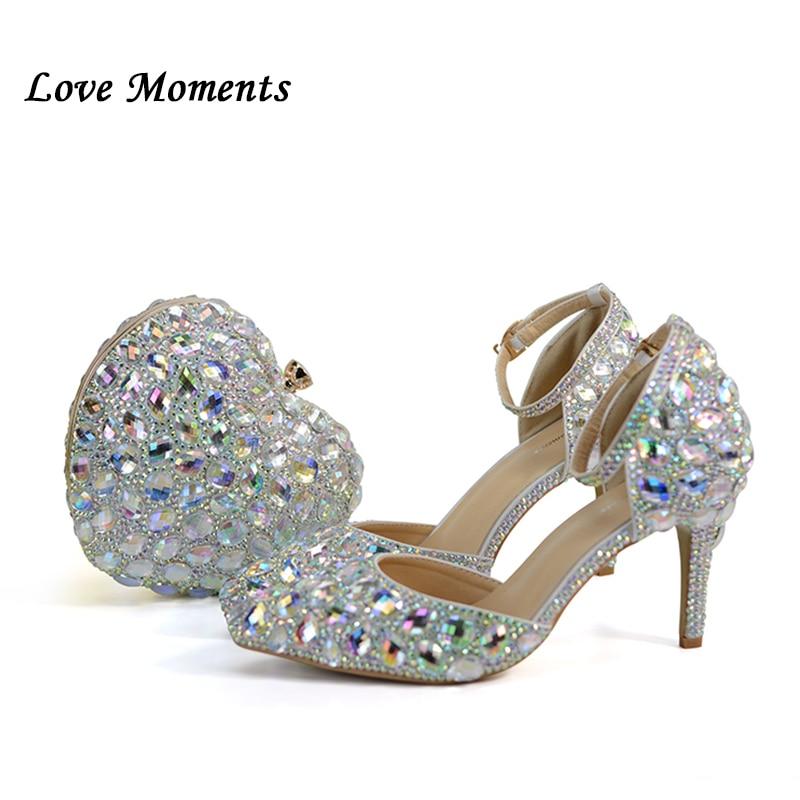 a2b18d2a1 الحب لحظات AB كريستال الزفاف أحذية 8 سنتيمتر الحلو الكعوب أحذية الحفلات  امرأة الزفاف الأحذية مع مطابقة أكياس القلب أكياس و أحذية