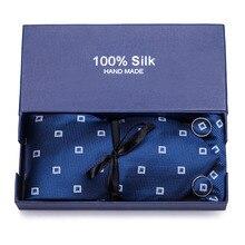 Luxury Silk Paisley Ties Set Blue Black Grey Neck Wear Tie Handkerchief Cufflinks Fashion Male Gravatas for Men