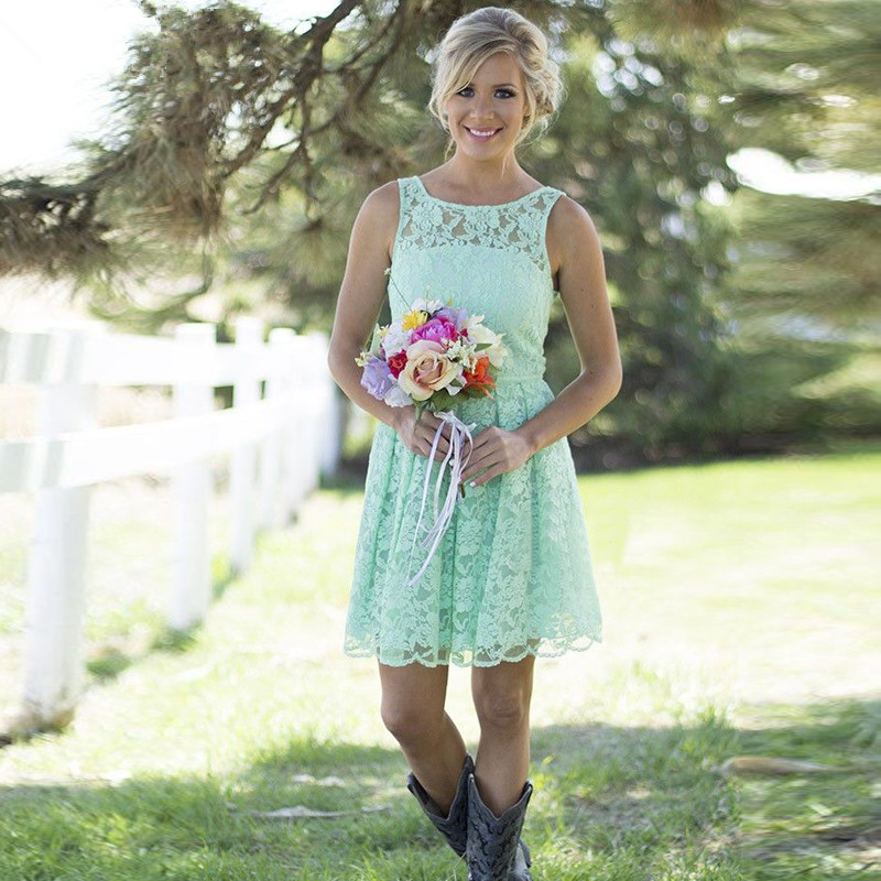 Buy mint green short country bridesmaid for Short country wedding dress