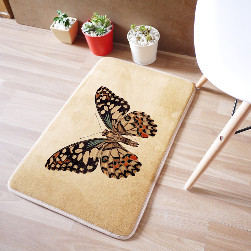 40x60cmCarpet For Living Room Bedroom Butterfly Rectangle Rugs Coral Velvet Suede Mats Tapetes De Cozinha Home Decoration