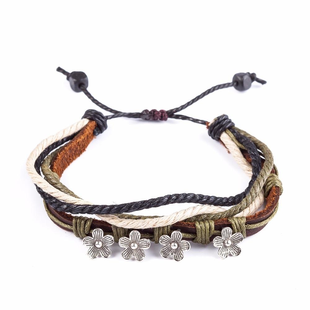 2017 Genuine Leather Bracelet Women,snaps Jewelry Adjustable Love Bracelets  & Bangles,green Line Flower Cuff Bracelet For Women