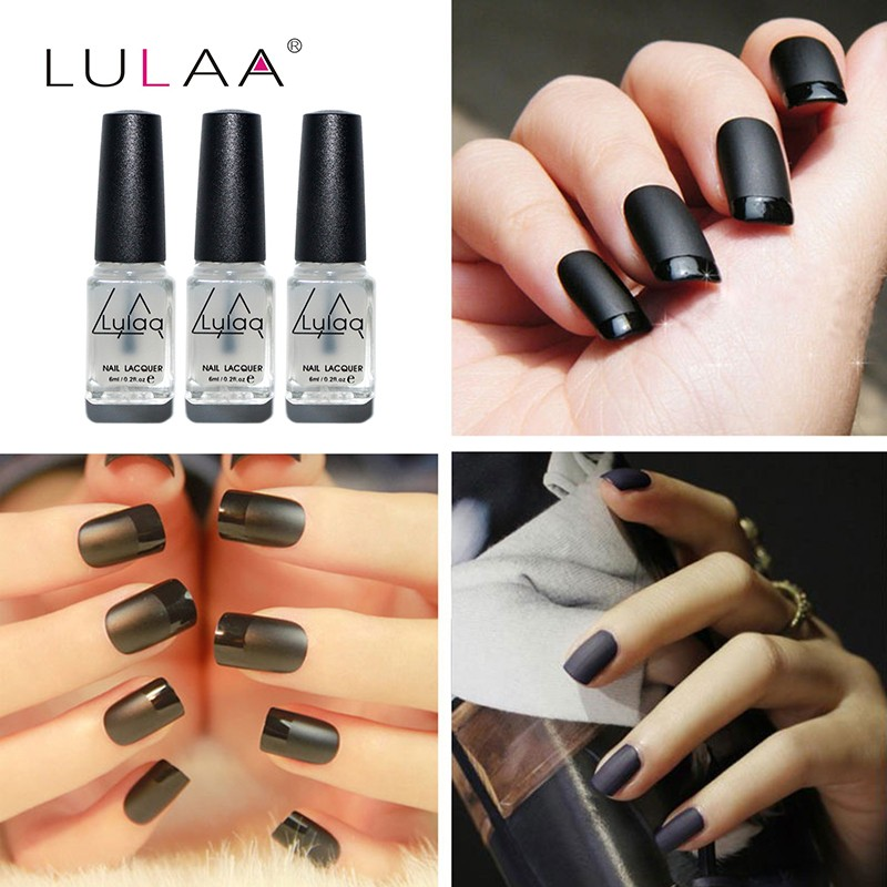 LULAA Terbaru 6 ML Sihir Super Matte Cat Kuku Transparan Kuku Art Nail Lac Frosted Permukaan Cat Kuku Minyak Matt Top ...