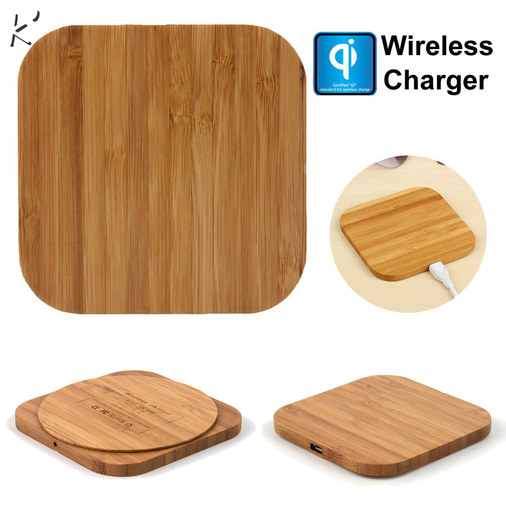 Qi Wireless Charger Slim Wood Pad Charging Mat For Samsung Galaxy Note 9 iphone wireless charger  mobile phone charger charging(China)