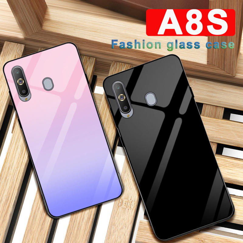 For <font><b>Samsung</b></font> galaxy <font><b>A8S</b></font> case Solid color tempered glass phone cover For <font><b>Samsung</b></font> <font><b>A8S</b></font> SM-<font><b>G8870</b></font> case Gradient glass shell coque 6.4