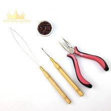 I Tip Hair Extensions Starter Kits Use For Silicone Micro Rings Beads+Hook Needle+Loop Threader +Extensions Plier