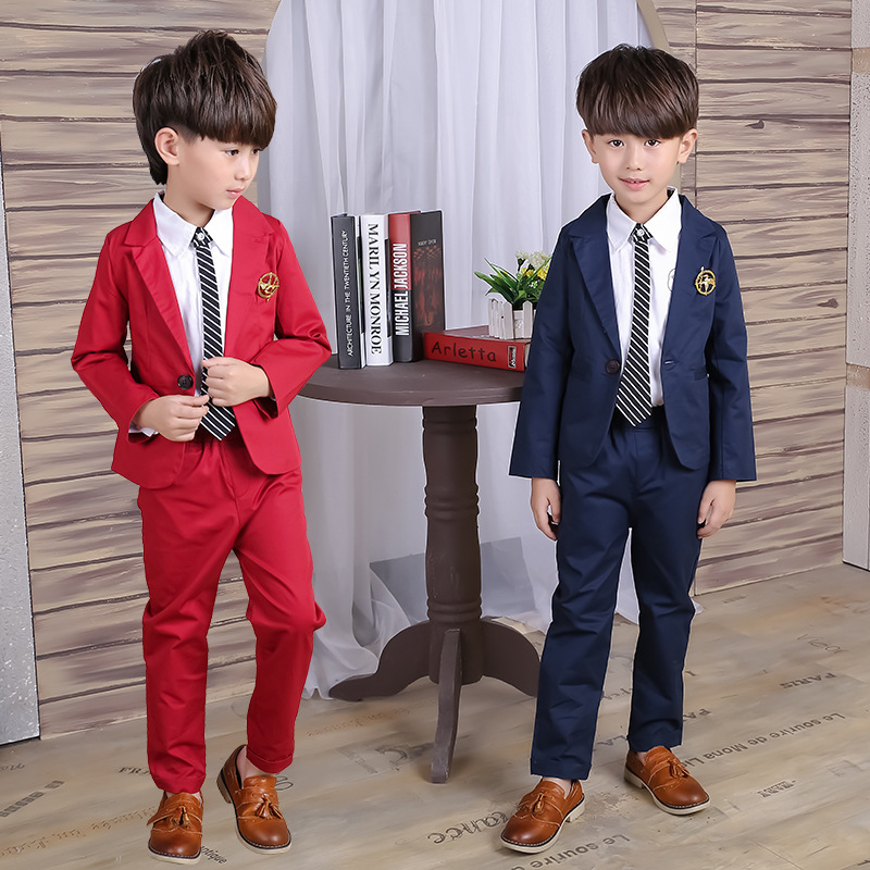 Children's clothing boys suits 2017 new spring autumn big kids 100% cotton clothes sets male child fashion casual wedding suit free shipping 2016 new fashion marv comic classic spiderman child boys spring or autumn cloth sets kids sprots suit tracksuits