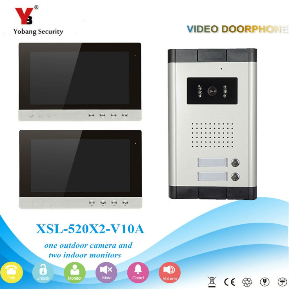 Yobang Security  10 Inch Screen Video Intercom Phone,High Quality 2 Apartment Video Doorphone Kit Configuration