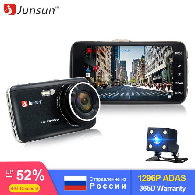 Junsun 4.0″ LDWS Car DVR FHD 1296P Dual Lens Dash Cam Camera 170 Auto Registrator with Rear Camera WDR Night Version Voice Alarm