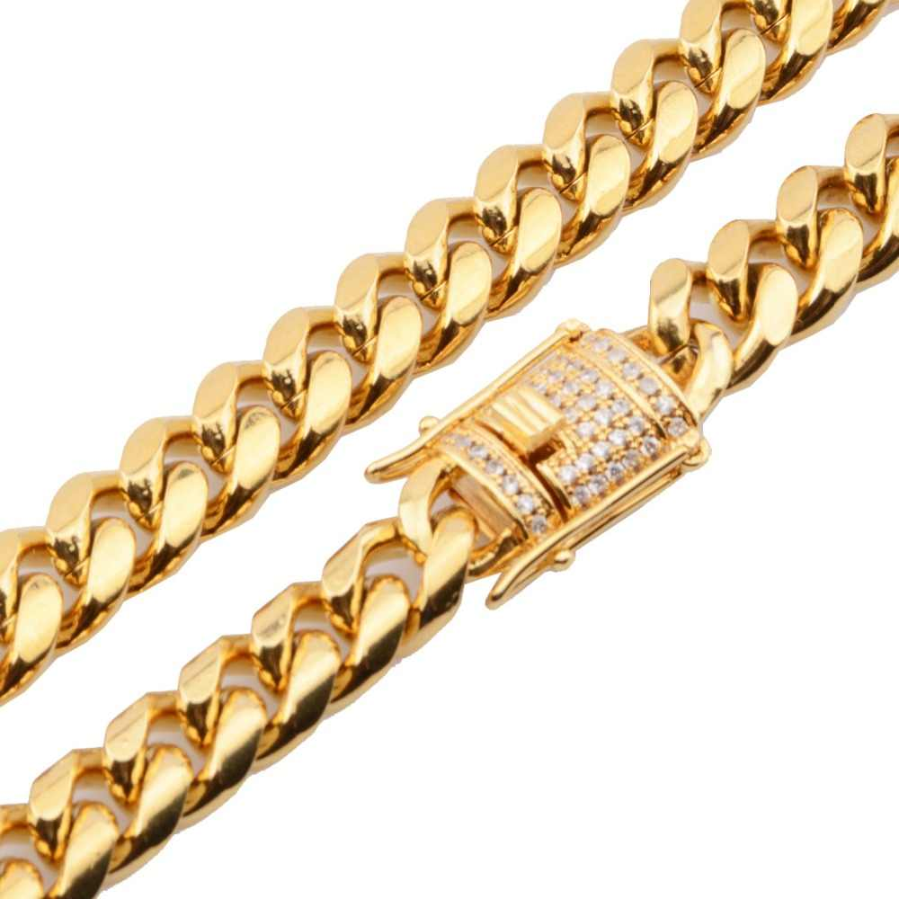"""Men/'s Stainless Steel Necklace Gold//Silver 8mm Hip-hop 18-36/"""" Chain Two Tone*C05"""