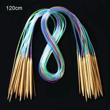 Wielokolorowe rurki 18 rozmiar/zestaw Bamboo Circular Crochet zestaw drutów do robienia na drutach 40 120cm wykrój do szycia grubość druty