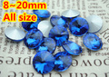 100pcs/lot Sapphire Color 8mm,10mm,12mm,14mm,16mm,18mm,20mm Chinese Top Quality Round Fancy Stone Rivoli glass beads