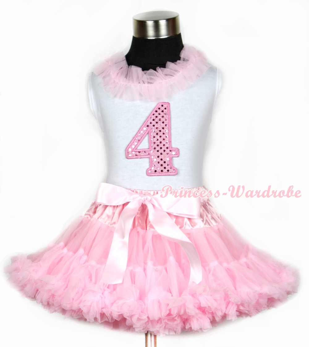 Halloween White Tank Top With Light Pink Chiffon Lacing & 4th Sparkle Pink Birthday Number Print With Pink Pettiskirt MAMG670 light pink tank top pink leopard lacing 3rd sparkle light pink birthday no leopard waist light pink white pettiskirt mam320