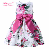 2017 White Girl Flower Dress Regular Sleeveless Girls Print Dresses Children Autumn Costume With Bow For Kids Wear GD81007-80Z