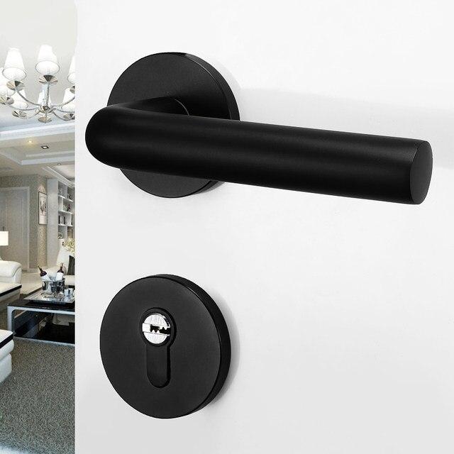 Black Door Lock Handles With Door Hinges + Door Stop, Anti Theft Separate  Lock Aluminum Interior Door Lock Room Security Locks